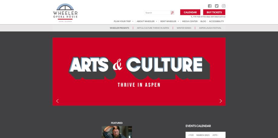 Wheeler Opera House website home page